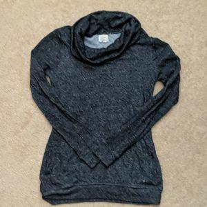 Dark gray cow neck long sleeve shirt w/ pockets